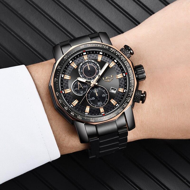 2018 montre hommes LIGE mode Sport Quartz horloge hommes montres Top marque luxe affaires étanche montre grand cadran Relogio homme + boîte