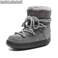 New Arrival Real Fur Waterproof Genuine Leather Ankle Snow Boots Winter Shoes For Women Space Women