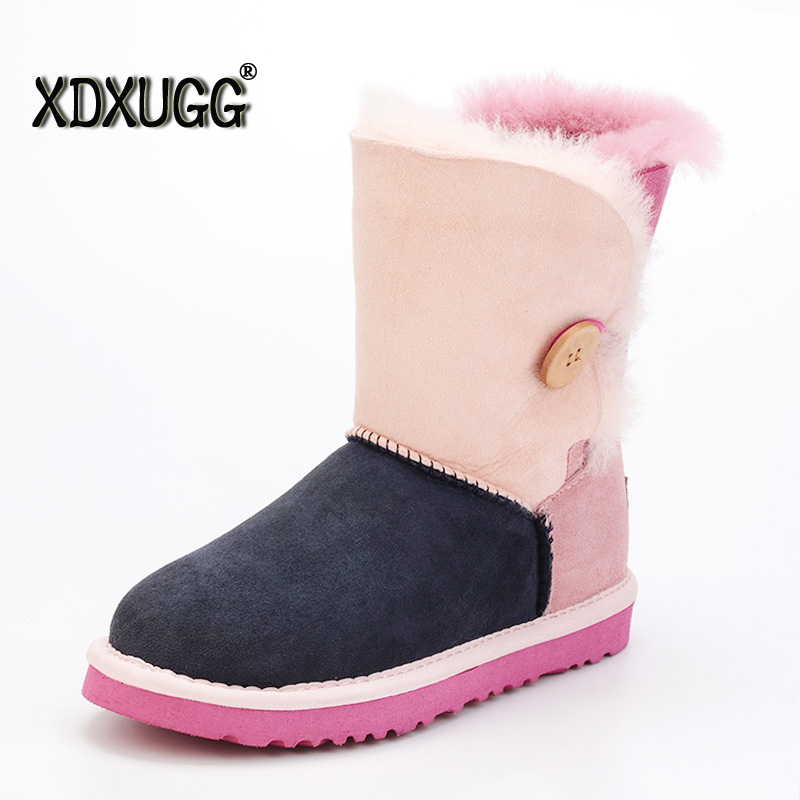 Fashion Women Sheepskin Wool Snow Boots High Quality Female Winter Flat Bottomed Buckle Winter Warm Boots Free Shipping new women high quality flat boots winter women s snow boots beige black brown warm classical flock add wool boots n03