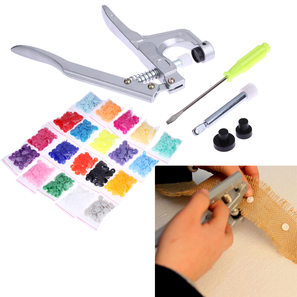 Metal Snap Tang Tool Set untuk T3 T5 T8 Kam Button Fastener Snap Tang + 300pcs T5 Plastic Resin Press Stud Cloth Button