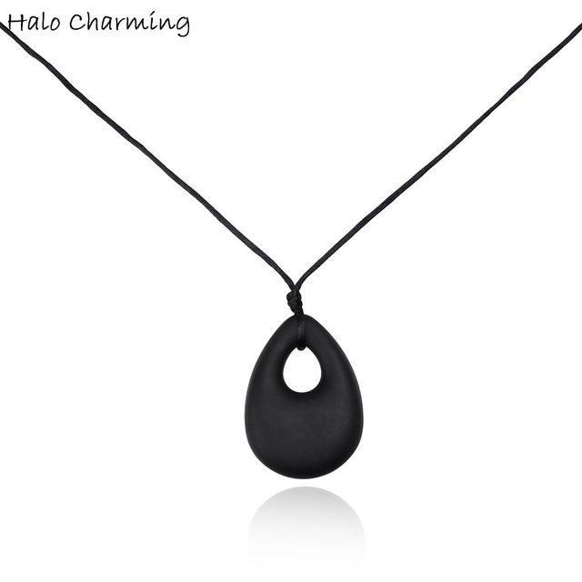1 piece food grade silicone necklace oval chew teething pendant baby 1 piece food grade silicone necklace oval chew teething pendant baby chewing necklaces teethers bpa mozeypictures Images