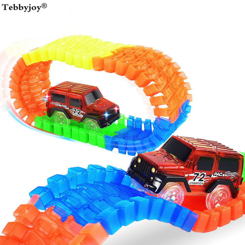 Glow Race Track car Bend Flexible Flash in the Dark Assembly Led Car Toy Stunt Railway Track Car Toy Gift 220pcs with 2cars