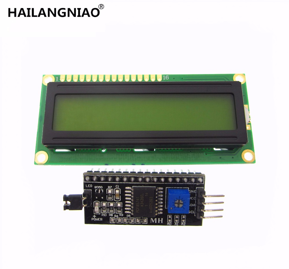 2pcs=1lot IIC/I2C + LCD1602 yellow /Green Backlight LCD Display Adapter Plate