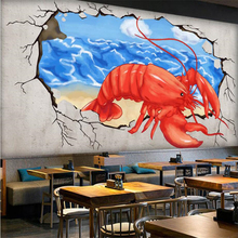 beibehang Custom 3d wallpaper hand painted lobster broken wall into the hot pot shop background wall