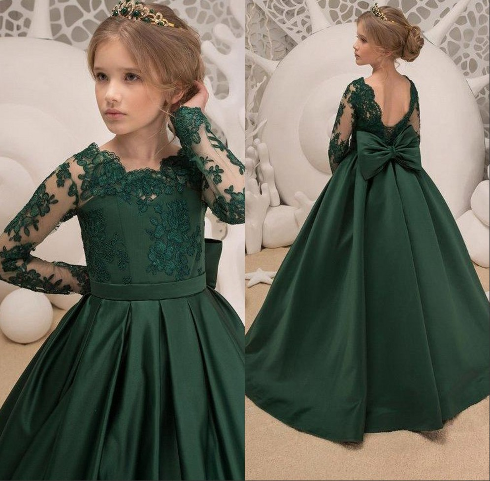 2019 Dark Green Lace Sash Little   Girls   Birthday Party Pageant   Dresses   Children Bow Knot   Flower     Girl     Dresses   First Communion Gown