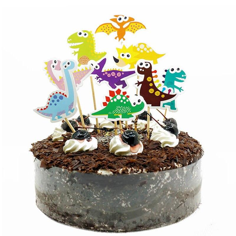 9pcs 1st Birthday Dinosaur Party Cupcake Toppers  Dinosaur Cartoon Cake Picks  Boy Birthday Party Decorations Kids Party Favors
