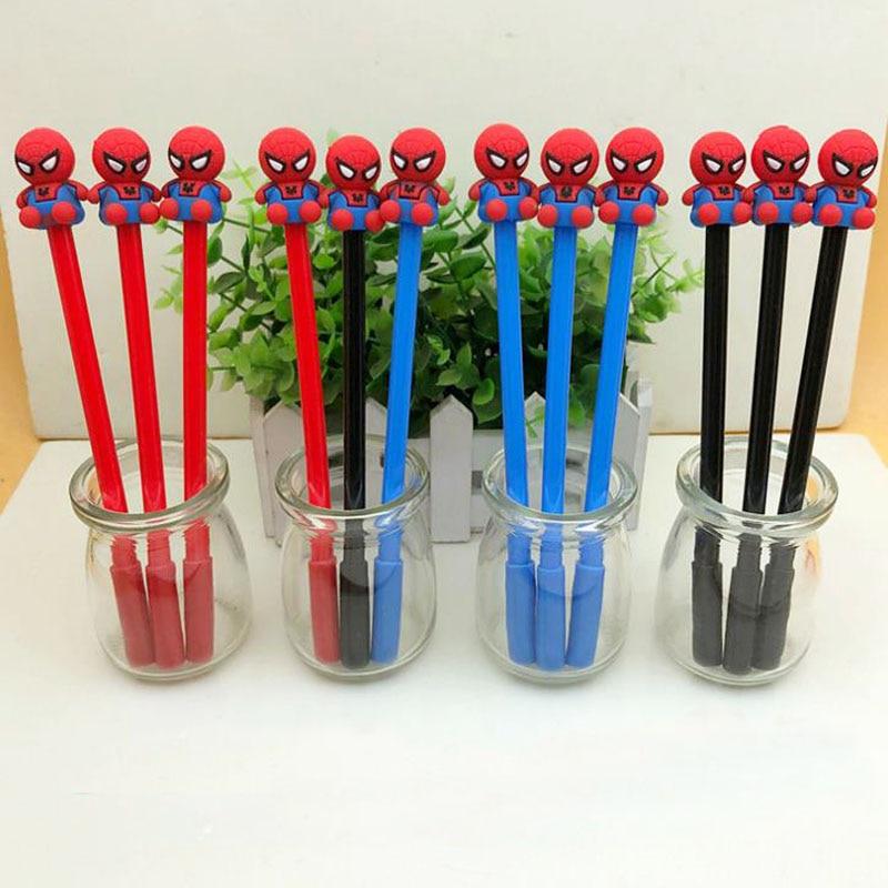 4 Pcs Kawaii Cartoon Stationery Gel Pen Spiderman 0.5mm Writing Fountain Pens Kids Fans Gift lakers шорты