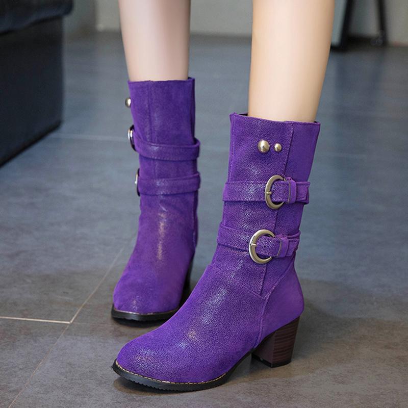 Almuerzo Nabo comportarse  Rimocy, Botas de media caña de felpa cortas, moradas, cálidas, hebilla  Vintage para Mujer, tacones gruesos, Botas de Pu, zapatos de talla grande  para Mujer|Botas a media pantorrilla| - AliExpress