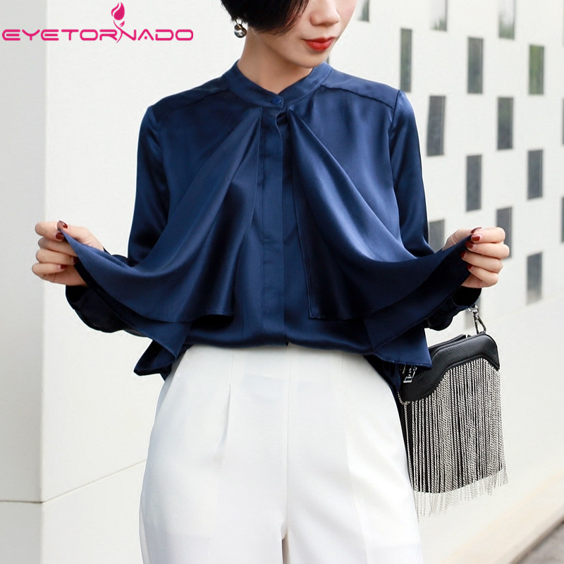 Women single breasted ruffled 100% silk blouse long sleeve casual work shirt solid color summer tops blusa korean style E6085