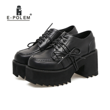 Punk Rock Pumps Women Shoes Black Leather Thick Platform Heels Round Toe Lace Up Woman Hgh Heel New Arrival