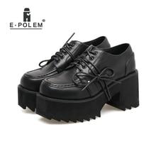 цена на Punk Rock Pumps Women Shoes Black Leather Thick Platform Heels Round Toe Lace Up Shoes Woman Hgh Heel New Arrival