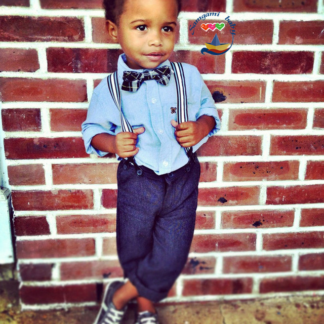 17b78c138c84 children's clothing fashion top trousers suspenders bow tie piece set baby  boy`s fashion long-sleeved shirt with tie + pants