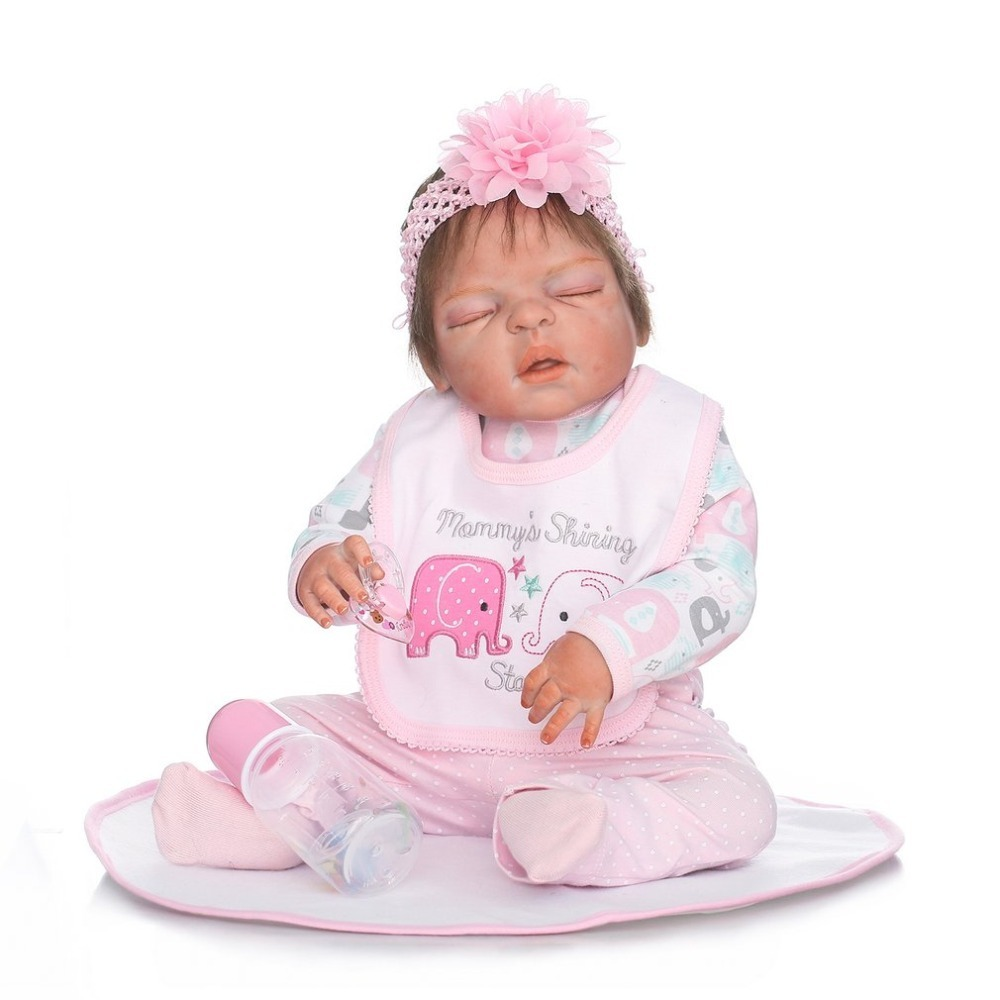 Cute Baby Reborn Doll Kids Toys 22 Inch Soft Silicone Lifelike Sleeping Doll Lifelike Reborn Toys For Girls Playmate Gift Pink lovely simulation reborn baby doll kids sleeping playmate accompany silicone toys lifelike children high quality toys gift