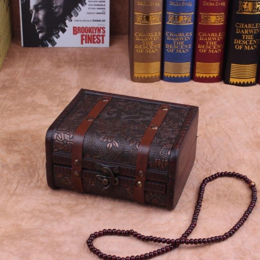 Caja de joyería de madera antigua caja de almacenamiento retro ...