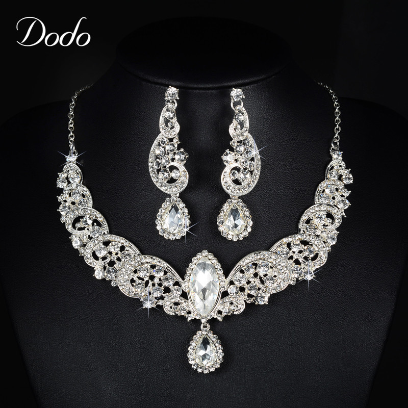 Water Drop Shiny Austrian Crystal Royal Noble Necklaces + Earrings Jewelry Set Women Wedding Party Fashion Accessories Gift HD21