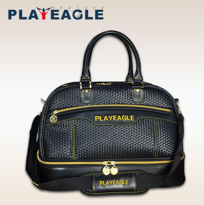 PLAYEAGLE multi-functional Golf Boston Bag Weave PU Leather Black Color Golf Clothing Bag with Separate Golf Shoes Bag