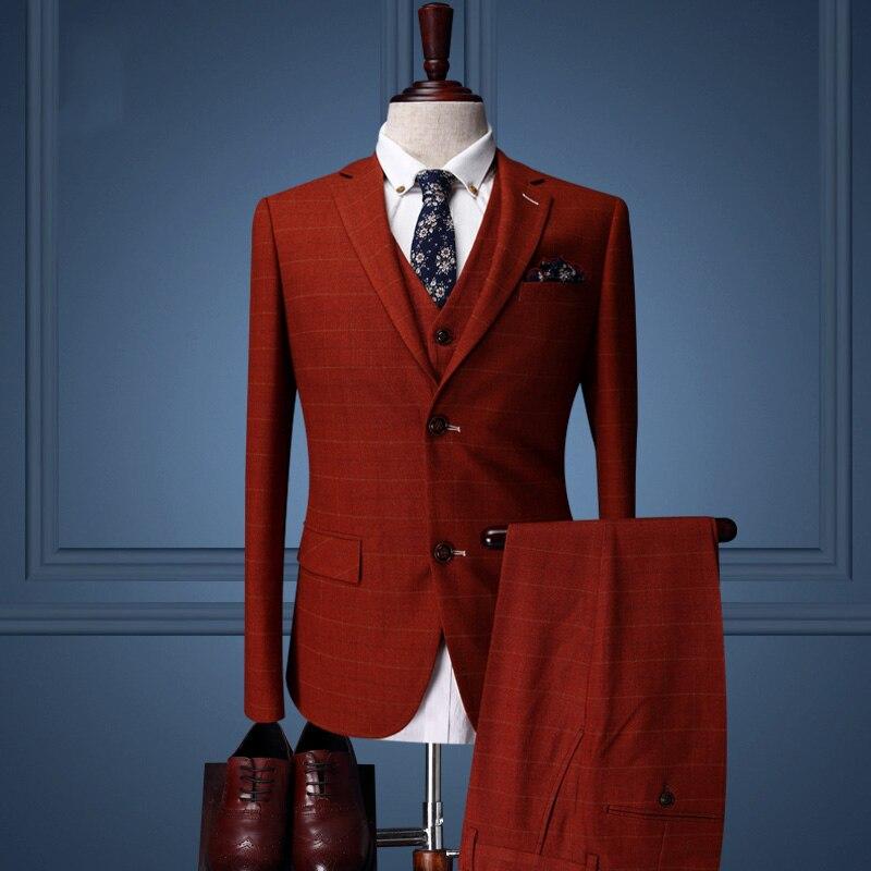 Brand Clothing font b Mens b font Prom font b Suits b font Wedding Groom Red