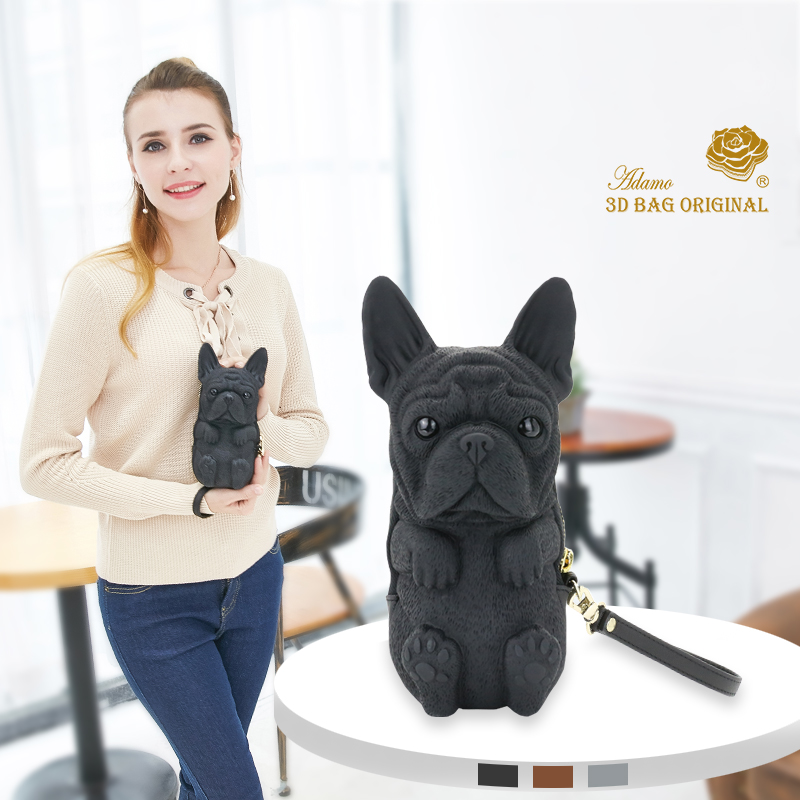 Adamo 3D Bag Original Fred French Bulldog Clutch with Strap Fashion Wallet Women's Purse Female Clutch Long Purse image