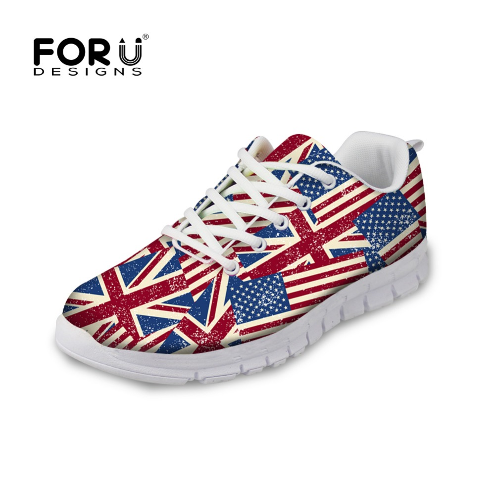 ФОТО FORUDESIGNS 2017 Stylish Women Spring Casual Flat Shoes Fashion Britain Style Union Flag Printed Woman Flats Ladies Lace Up Shoe