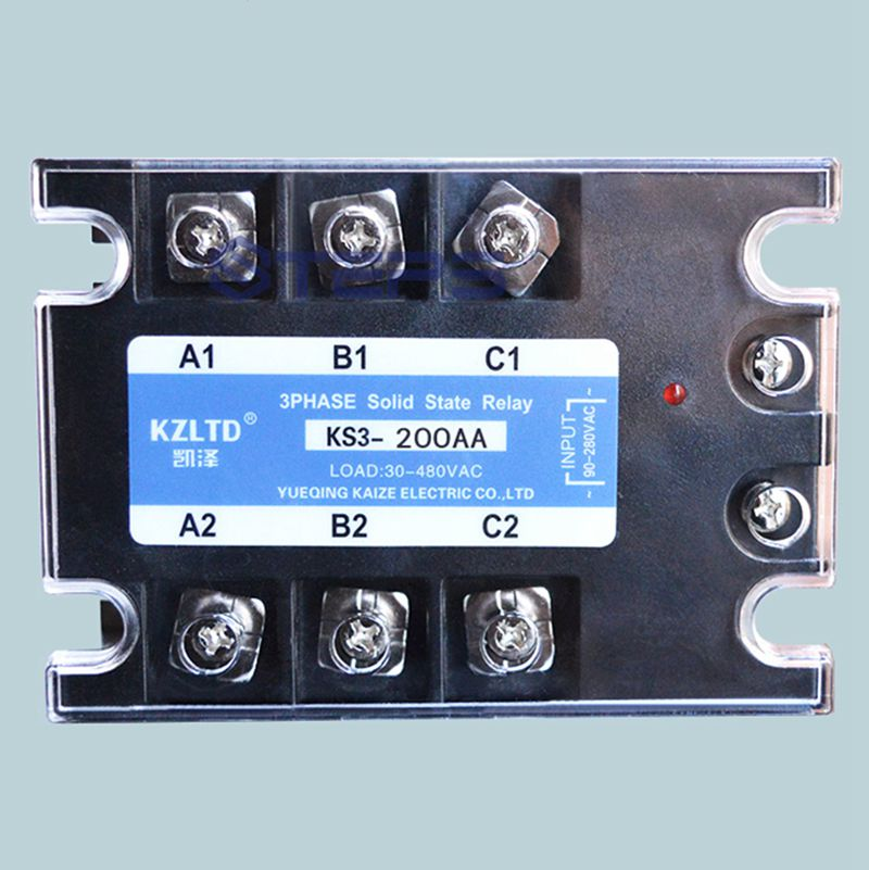Three-phase solid state relay 200A AC to AC solid state contactor 127V220V new and original sa366200d sa3 66200d gold 3 phase solid state relay 4 32vdc 90 660vac 200a