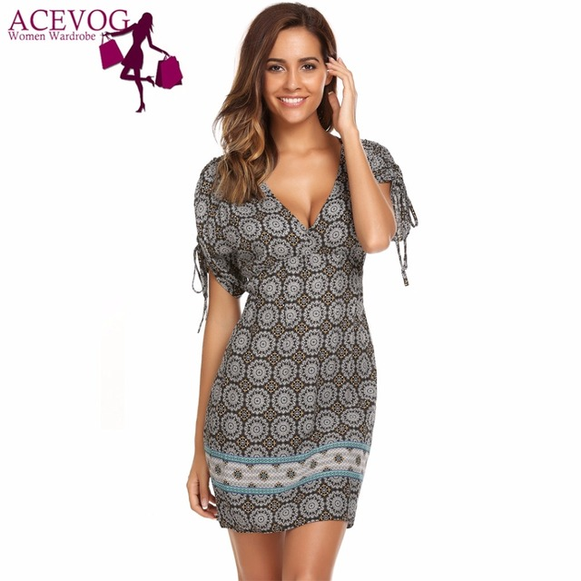 cb7ea7287454 ACEVOG Women s A-Line Tunic Dress Summer Autumn Bohemian Print Lace Up  Sleeve High Waist Knee Length V Neck Feminino Vestidos