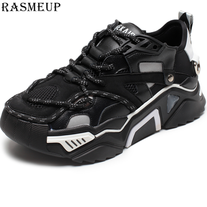RASMEUP Genuine Leather Women Chunky Sneakers 2019 Platform Women Shoes Fashion Woman Trainers Ladies Footwear