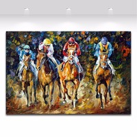 Horse Racing Exciting Sports Palette Knife Painting Canvas Picture for Living Room Bedroom Office Wall Decoration