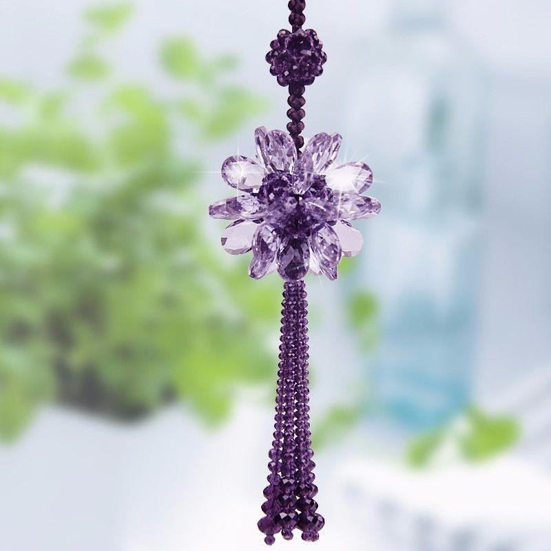 New Fashion Crystal Floral Car Hanging Ornament Rear View Mirror Pendant Car Interior Decoration