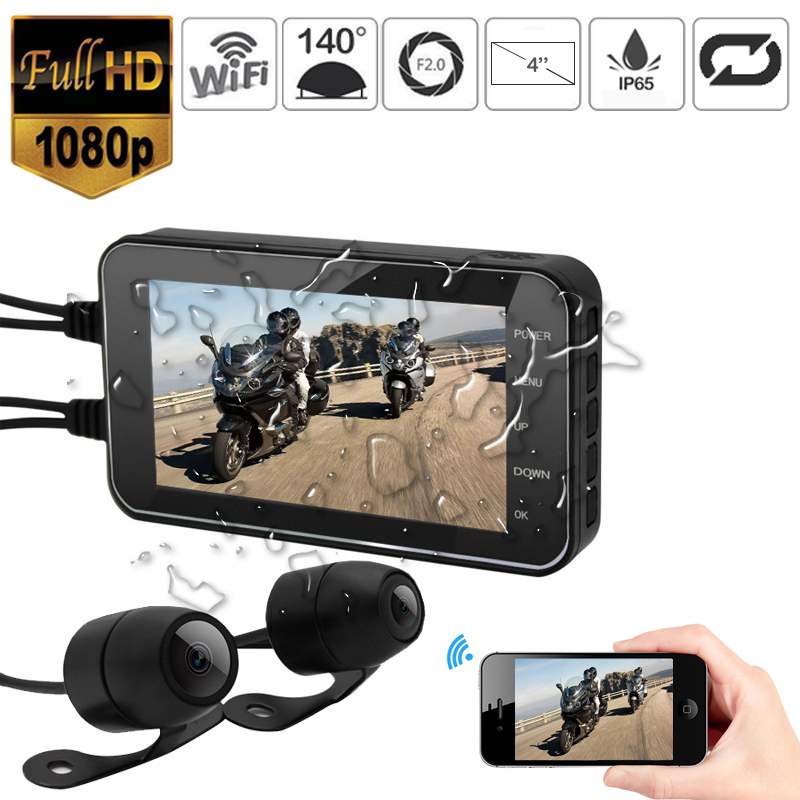FHD 1080P Waterproof WiFi Camera 4 Motorcycle DVR Front Rear Dual Camera Driving Video Recorder Dash Cam Moto Bike HDFHD 1080P Waterproof WiFi Camera 4 Motorcycle DVR Front Rear Dual Camera Driving Video Recorder Dash Cam Moto Bike HD