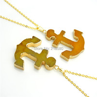 NC150109003 Yellow Agate Stone Anchor Charm Pendant Necklace Gold Plated Chain Necklace