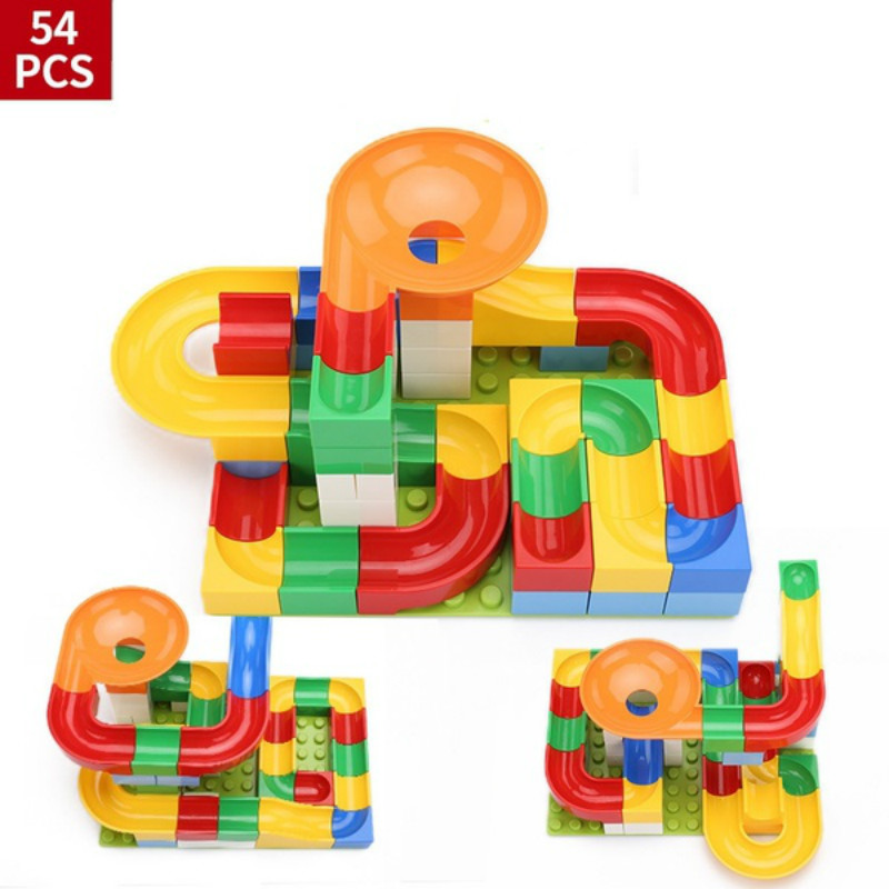 52Pcs Construction Marble Race Run Maze Balls Track compatible legoeery Building Blocks Big Size Educational Bricks for gift