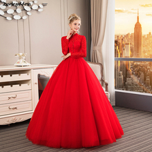 Vestidos De Novia Vintage Red Wedding Dress 2019 High Neck Long Sleeve Wedding Dresses Muslim Ball Gown Lace Bridal Dress