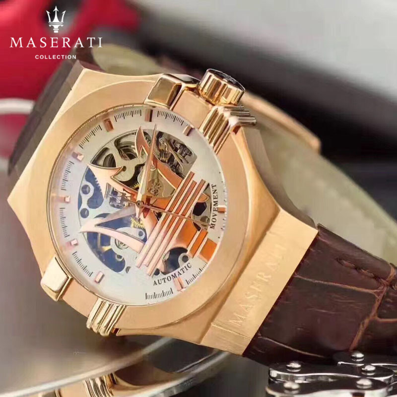 Maserati Quartz Montres Offre Spéciale 2018 Hommes Véritable Bracelet En Cuir 50 m Étanche Horloge Casual Hommes de Montres À Quartz 98656413