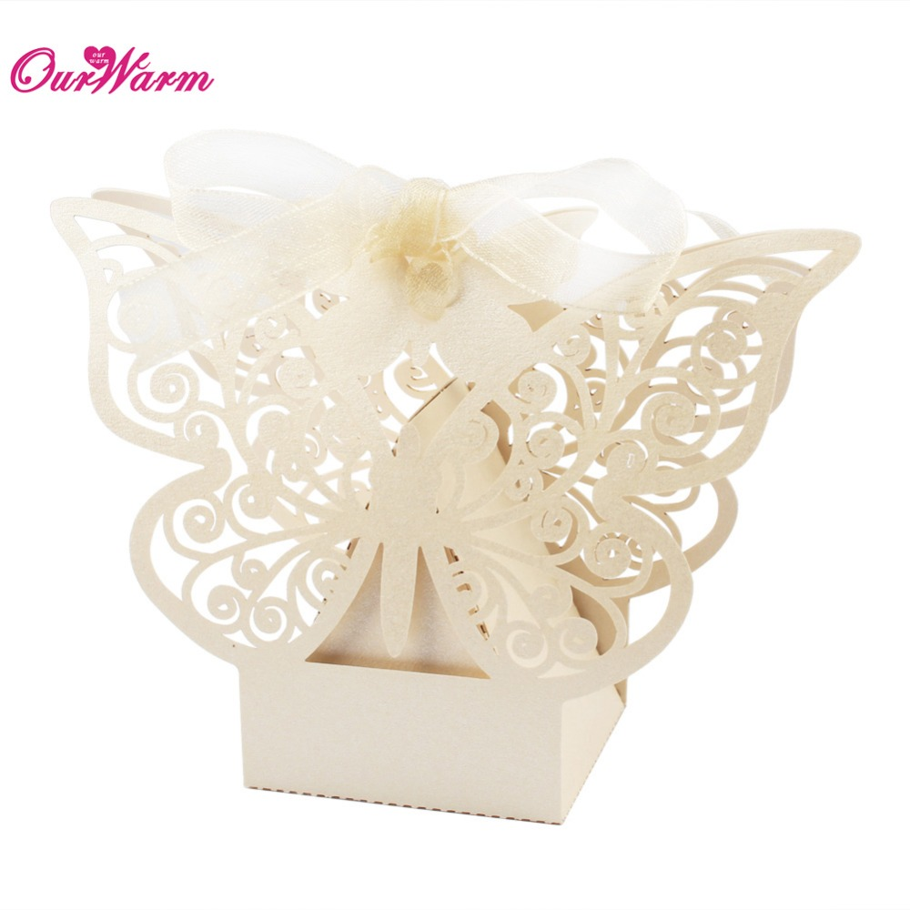 50pcs lot butterfly candy box wedding favors and gifts box for Wedding favor supplies