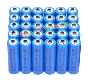 4/10/20/30/48pcs AA 3000mAh Ni-MH rechargeable battery 2A LR6 Blue