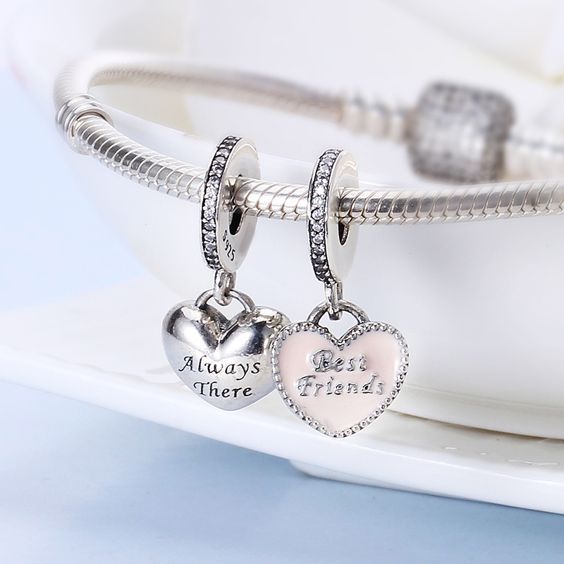 100% 925 Sterling Silver Fit Original Pandora Bracelet Best Friends Pendant Charms DIY Charms Beads for Jewelry Making Gift 100% 925 sterling silver my special sister pendant charms fit original pandora bracelet diy charms beads for jewelry making