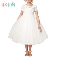 Iiniim สาวดอกไม้สีขาว Ivory จริง Vestidos ชุดเจ้าหญิงเด็กเล็กกลวงหัวใจชุดสำหรับงานแต่งงาน
