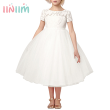 Iiniim フラワーガールズドレスホワイトアイボリーリアル Vestidos パーティープリンセスドレスリトル子供子供の中空ハートドレス結婚式のための