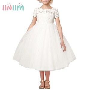 Image 1 - Iiniim フラワーガールズドレスホワイトアイボリーリアル Vestidos パーティープリンセスドレスリトル子供子供の中空ハートドレス結婚式のための