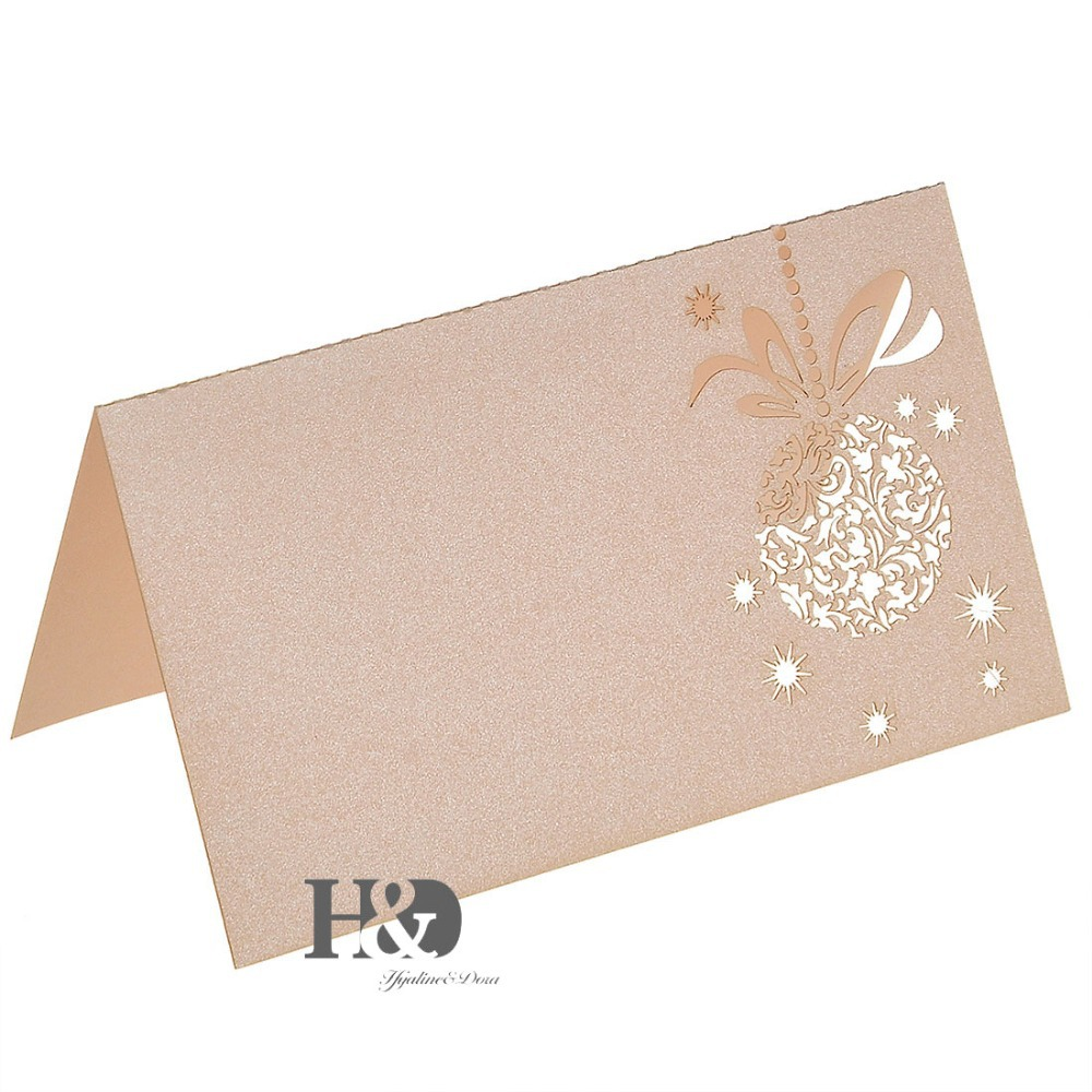 Beige Laser Cut paper Flower 120pcs Name Place Cards Wedding ...