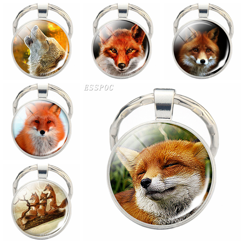 Animal Keyrings Lovely Fox Glass Cabochon Metal Keychain Fox Bag Pendant Fashion Key Chain For Women Christmas Gift For Daughter