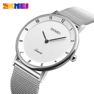 Image 3 - SKMEI prosty Ultra cienki zegarek kwarcowy siatka ze stali nierdzewnej zegarki męskie z paskiem moda wodoodporny zegar mężczyźni casualowe zegarki na rękę