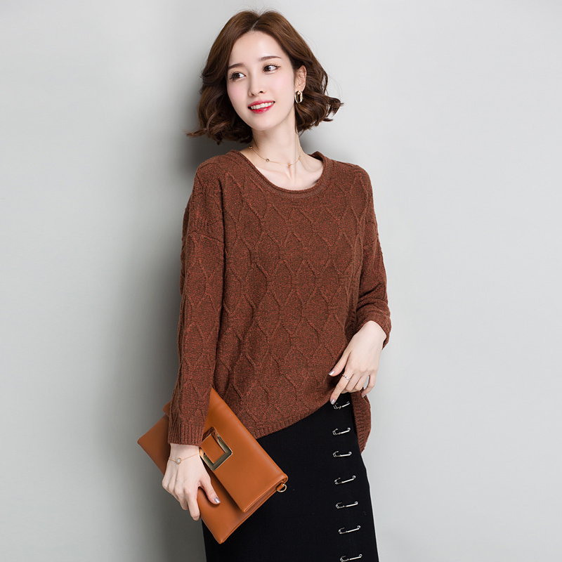 Brand Wool Blend Thicken Sweater Fall Winter Women Knit Sweater New Casual Solid Color O-neck Sweater Irregular Loose Pullovers