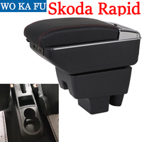 for Skoda Rapid armrest box universal car center console caja modification accessories double raised with USB