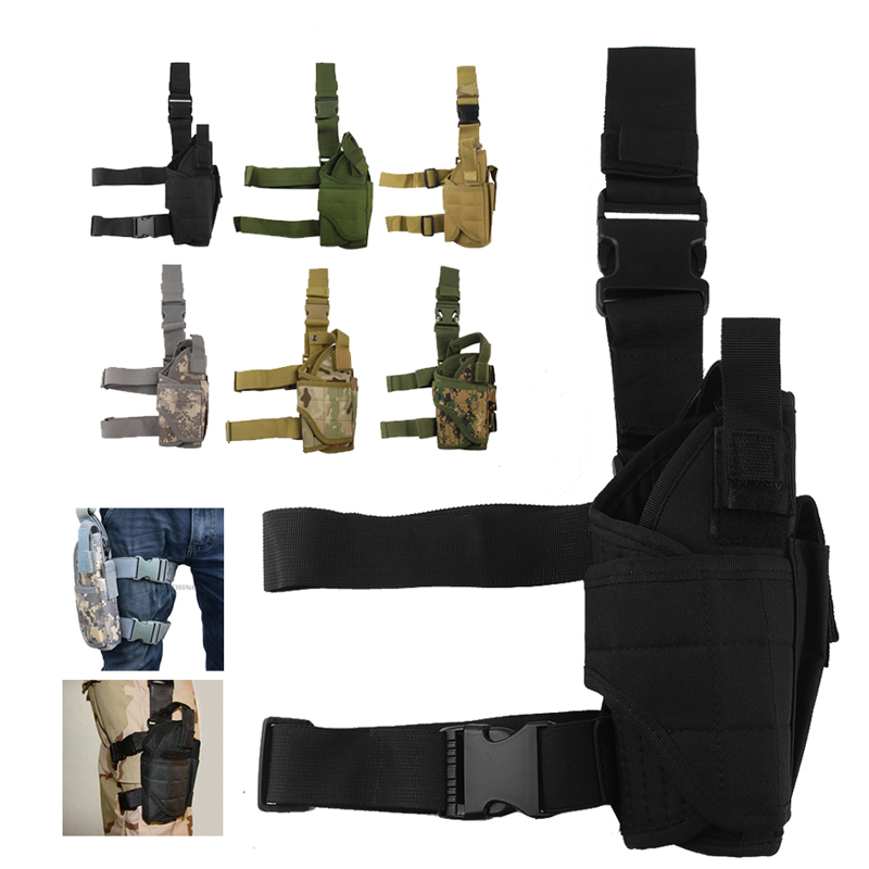 2018 Tactical Pistol Holster Drop Leg Thigh Mag Pouch Right Hand Outdoor Pouch with Adjustable Magic Strap 31-0009 tactical 1911 leg holster right hand paddle drop thigh pistol gun holster with snap button magazine torch pouch for colt 1911