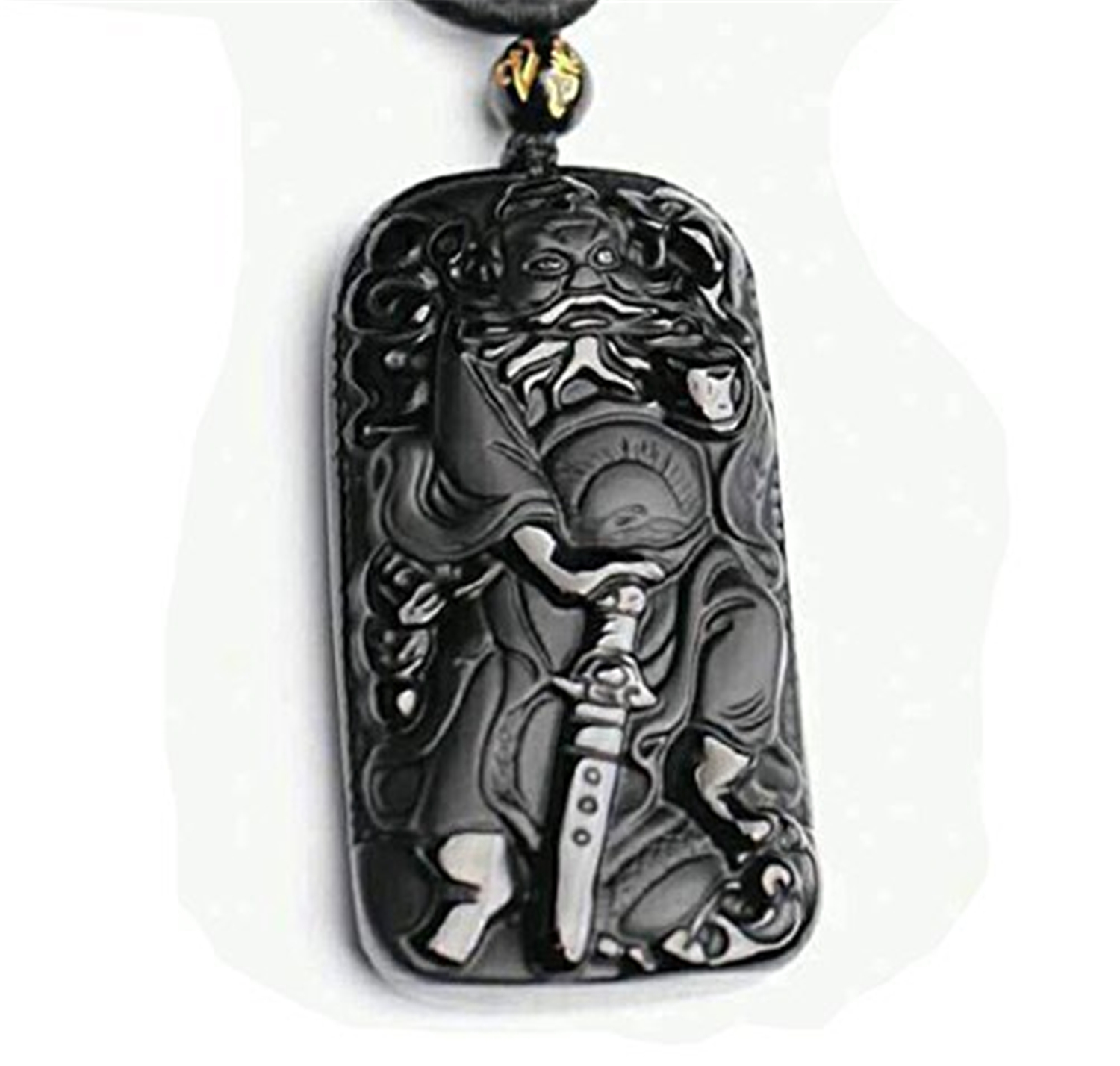 Koraba Fine Jewelry Natural Obsidian Carved Bell Kui Jade Pendant Male and Female Models ...