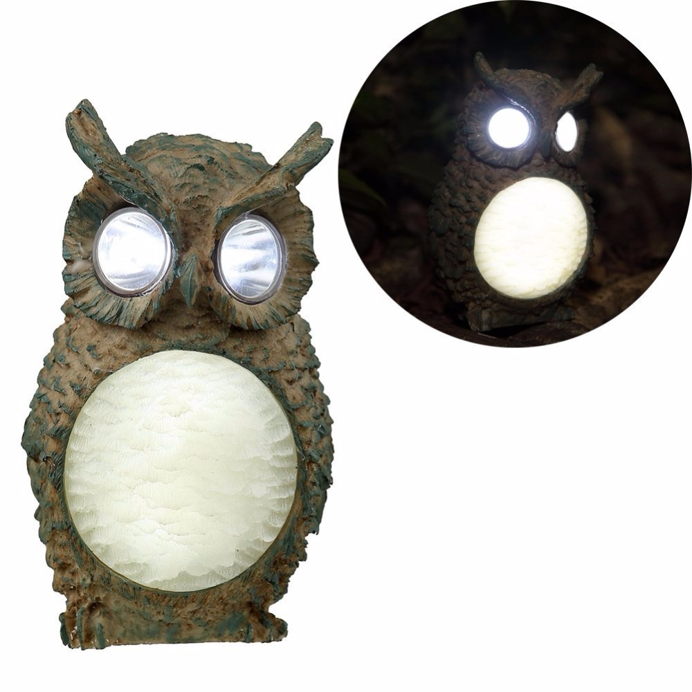 Solar Owl Light Decoration Resin Owl Modeling Lamp Garden Landscape Lighting Outdoor