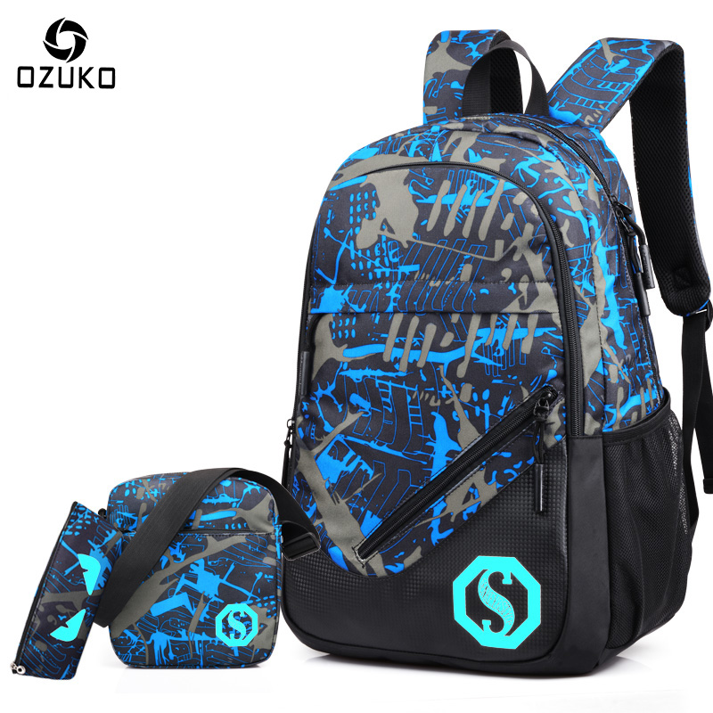 OZUKO New Men Fashion School Vesker Ryggsekk Laptop Vesker Student Menn Ryggsekk til Teenage Boys Girls College Luminous Mochila 2018
