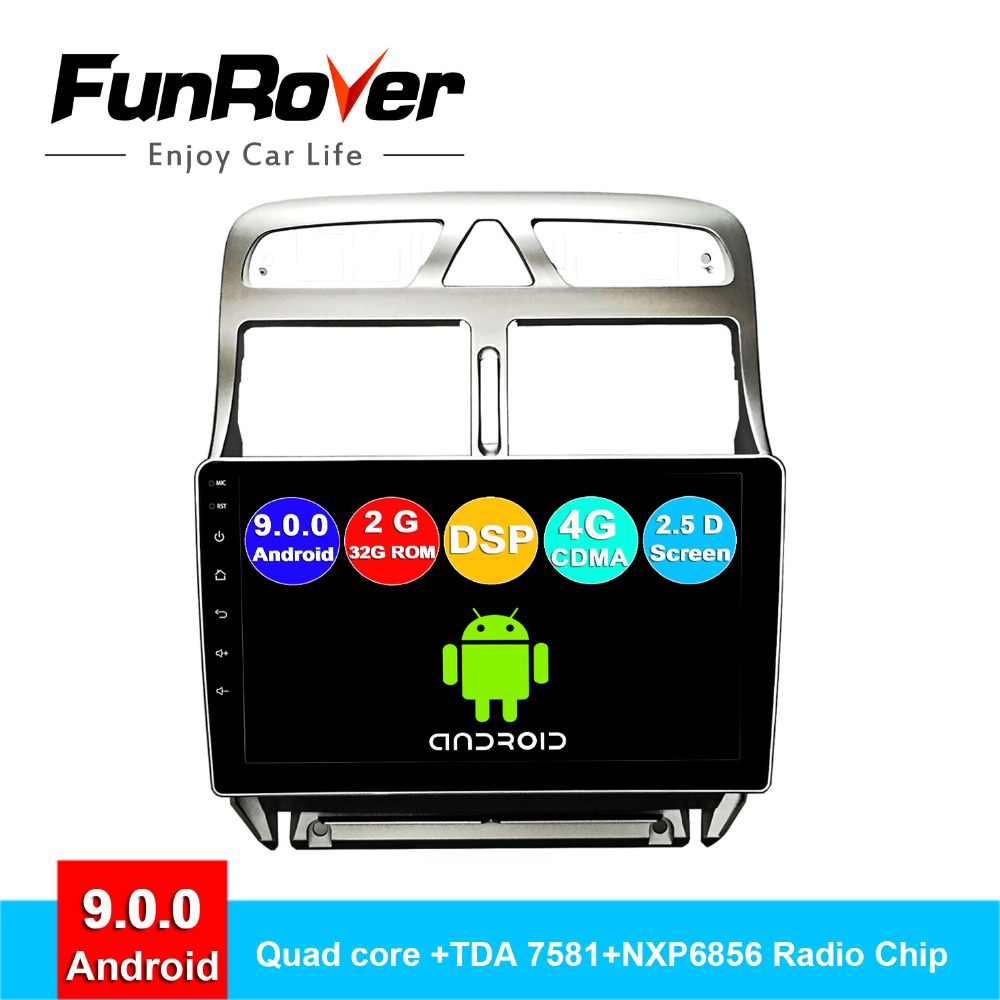 Lecteur multimédia FUNROVER android 9.0 2 din autoradio pour Peugeot 307 2002-2013 dvd gps navigation navi stéréo DSP 2.5D RDS 9