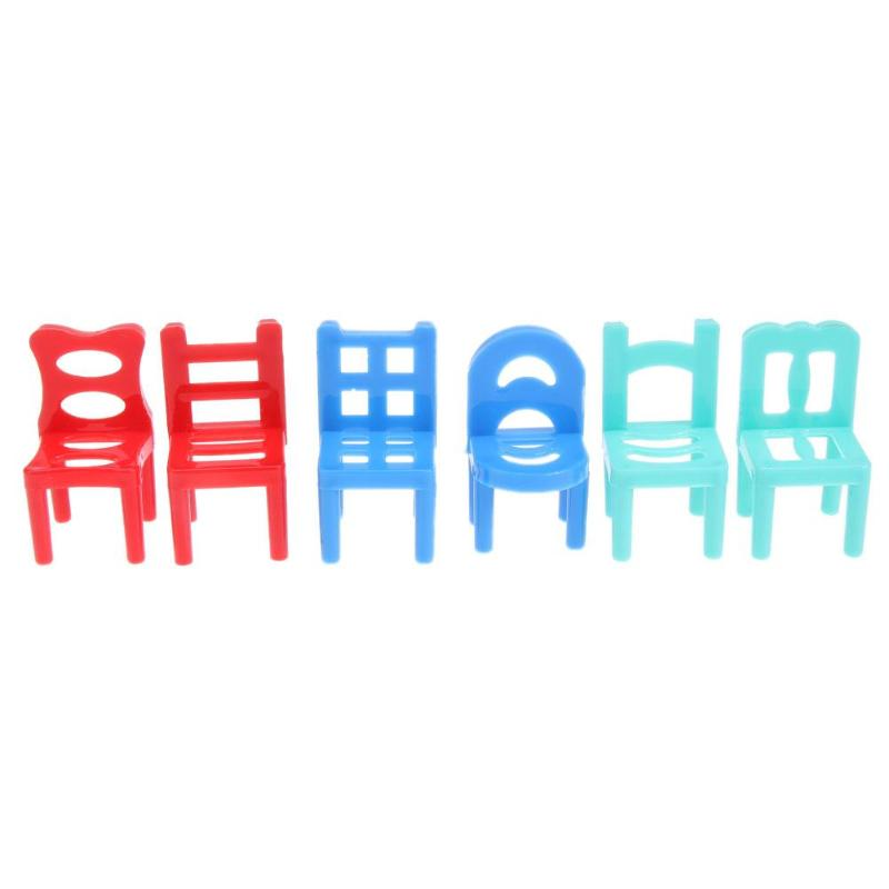 6pcs Children Pretend Play Plastic Chairs Hollow Geometric Chair For Dolls Accessories Furniture Play House Toys Random